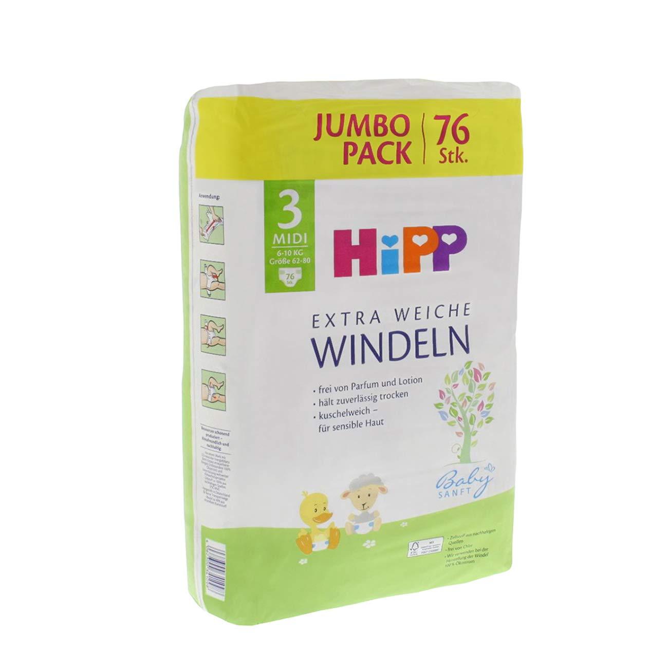 76 unidades Midi 3 Jumbo Hipp Pa/ñales suaves para beb/é