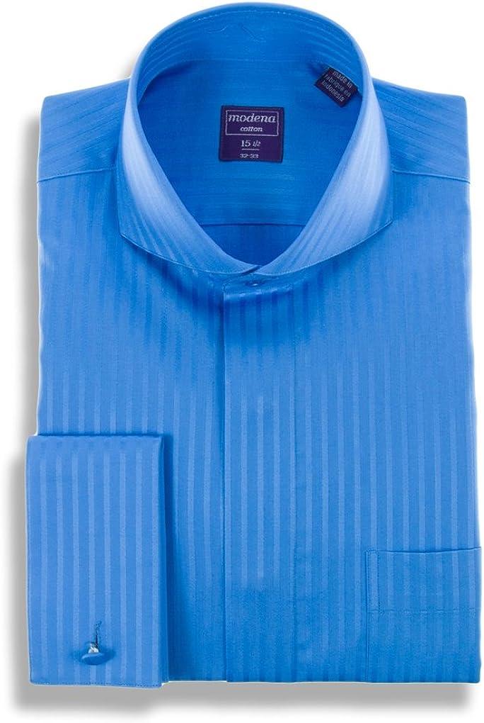 Modena Mens Plaid Cutaway Collar Dress Shirt