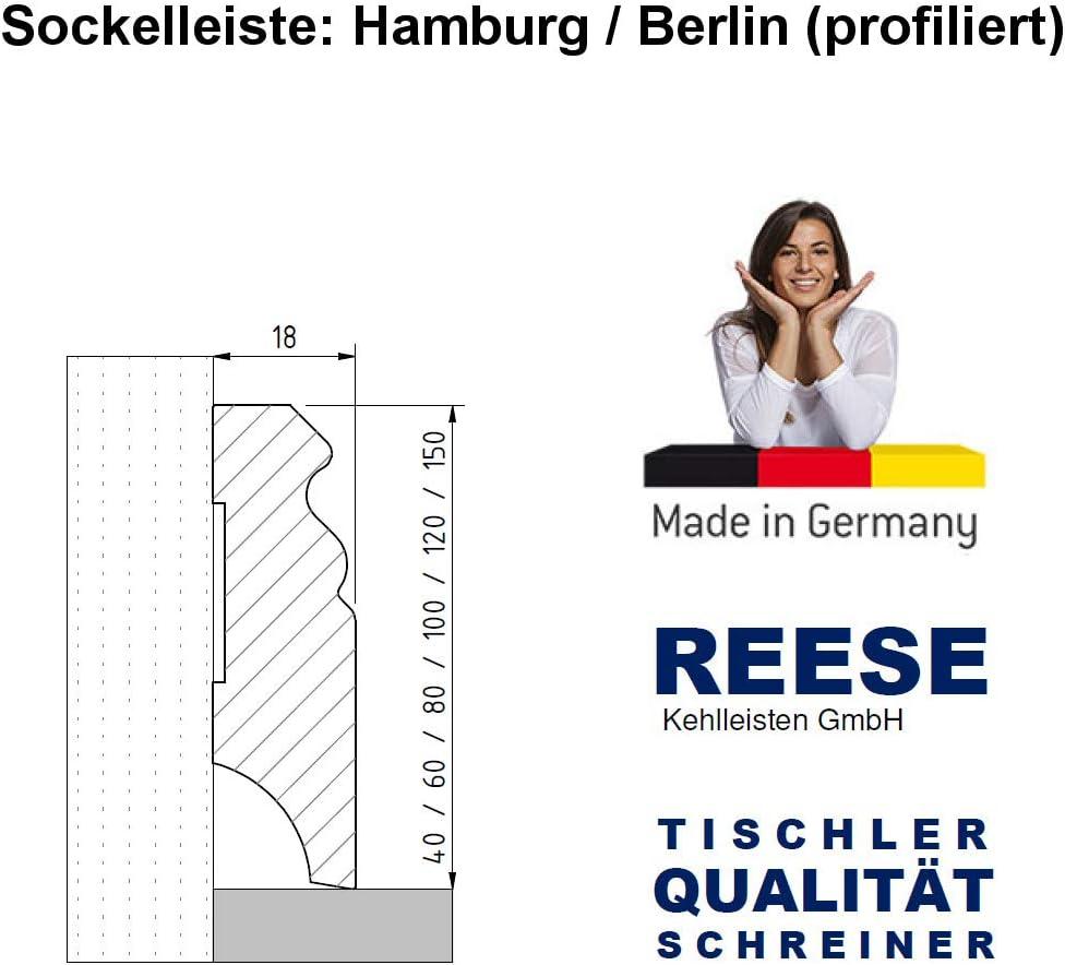 Echtholz-Sockelleisten Wei/ß lackiert Buche Massiv Berliner Profil SPARPAKET 60mm H/öhe, 15 St/ück // 34,5lfm