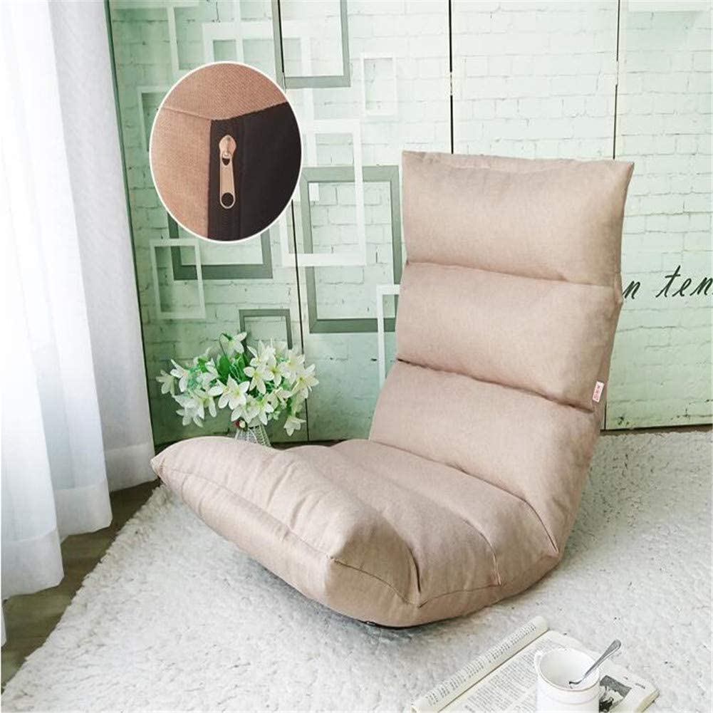 6 Grid Floor Chair Zipper Design 15-Position Adjustable Linen Fabric Tatami Chair Folding Sofa Chair Washable Stadium Seat for Meditation Seminars Yoga TV Watching Gaming Khaki