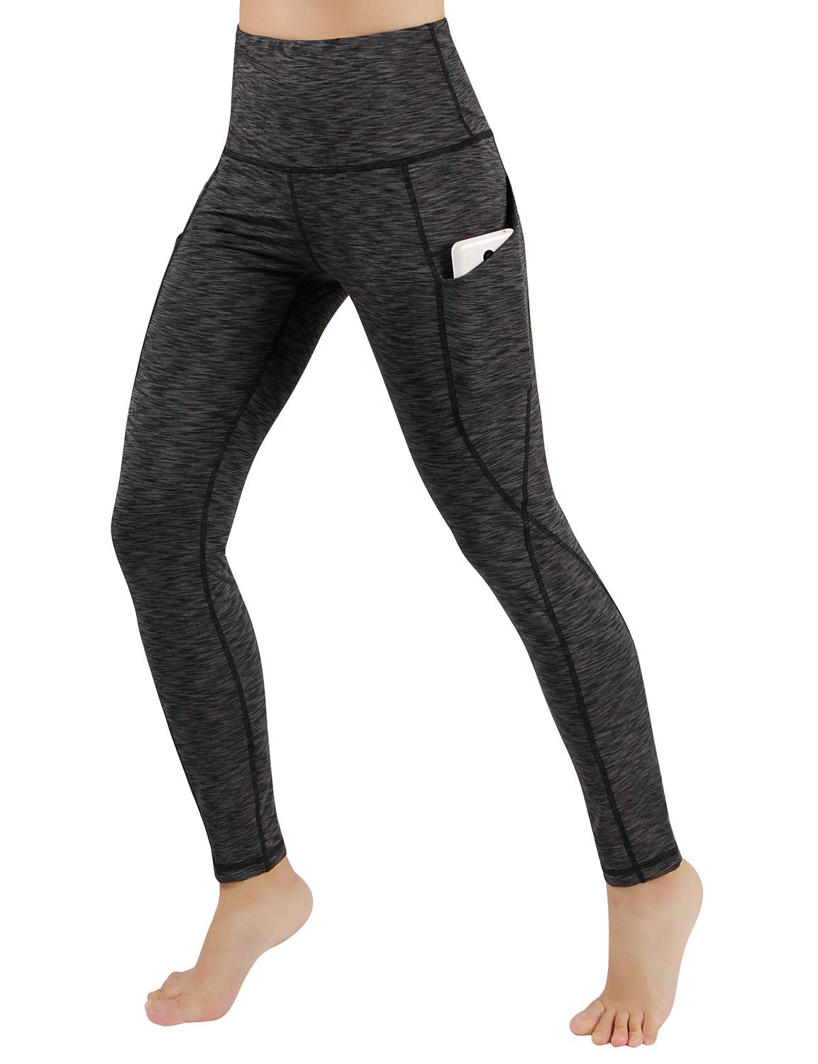 ODODOS High Waist Out Pocket Yoga Pants Tummy Control Workout Running 4 Way Stretch Yoga Leggings,SpaceDyeCharcoal,X-Small