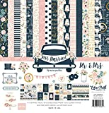Echo Park Paper Company JM153016 Just Married Collection Kit, Navy, Pink, Coral, Cream, Teal, Gold