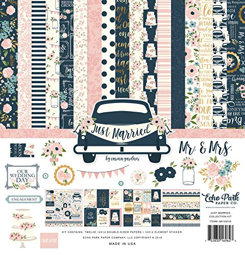 Echo Park Paper Company JM153016 Just Married Collection Kit, Navy, Pink, Coral, Cream, Teal, Gold by Echo Park Paper Company