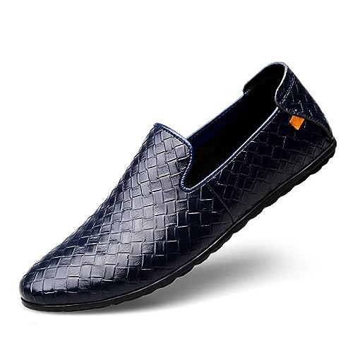 Zapatos de Vestir de Cuero para Hombres Zapatos 2018 Primavera y otoño Mocasines Casuales Respirable de Moda Slip On Soles Ligeros Zapatos de conducción ...