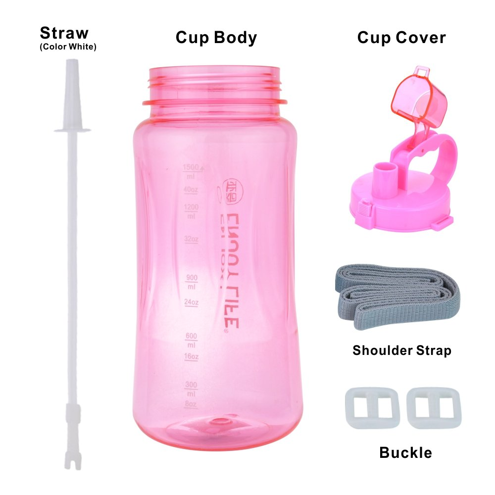 Large Water Bottle 1.5L BPA Free Space Cup with Carry Handle Pop Up Straw Wide Mouth for Sports Camping Hiking Gym Picnic