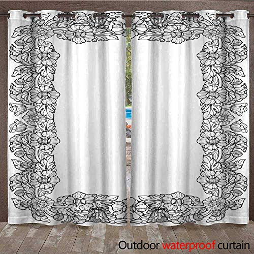 Linea Rail (RenteriaDecor Outdoor Curtains for Patio Sheer Lotus Flowers Arranged in Intricate Rectangular Frame Popular Decorative Motif in South Eastern Asia Tattoo Design Linea W72 x L84)