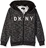 DKNY Toddler Boys' Marled Fleece Zip Front Hoody, Black Heather, 2T