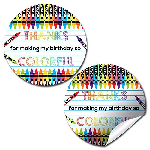 Crayon Thank You Birthday Party Sticker Labels, 40 2