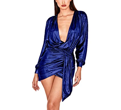8d1c3c7bc59 Ophestin Women's Sexy Deep V Neck Metallic Glitter Ruched Long Sleeve Mini  Party Dress Dark Blue