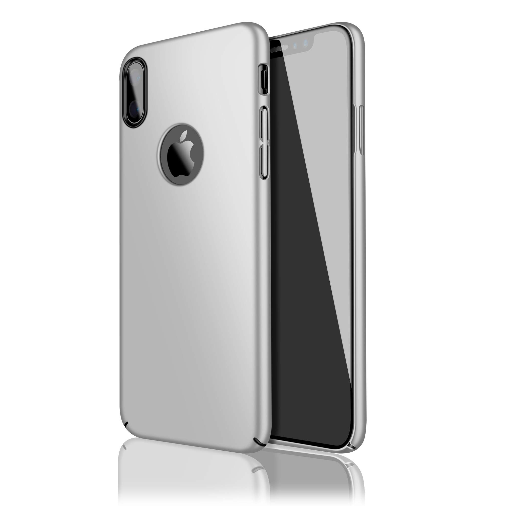 Case for iPhone X,Eartonx Slim Fit Shell Hard Plastic PC Thin Mobile Phone Cover Case Compatible with iPhone X (5.8'')(2017)(Silvery)