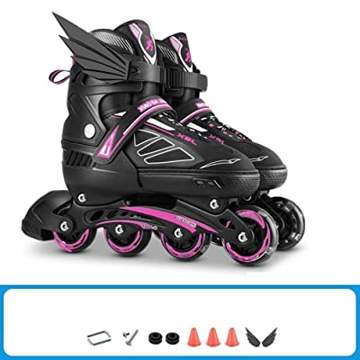 Qoitkgl Adjustable Size Inline Roller Skates Children's Full Set Roller Skate Boys and Girls Beginners Adjustable Professional Adult Skates : Sports & Outdoors
