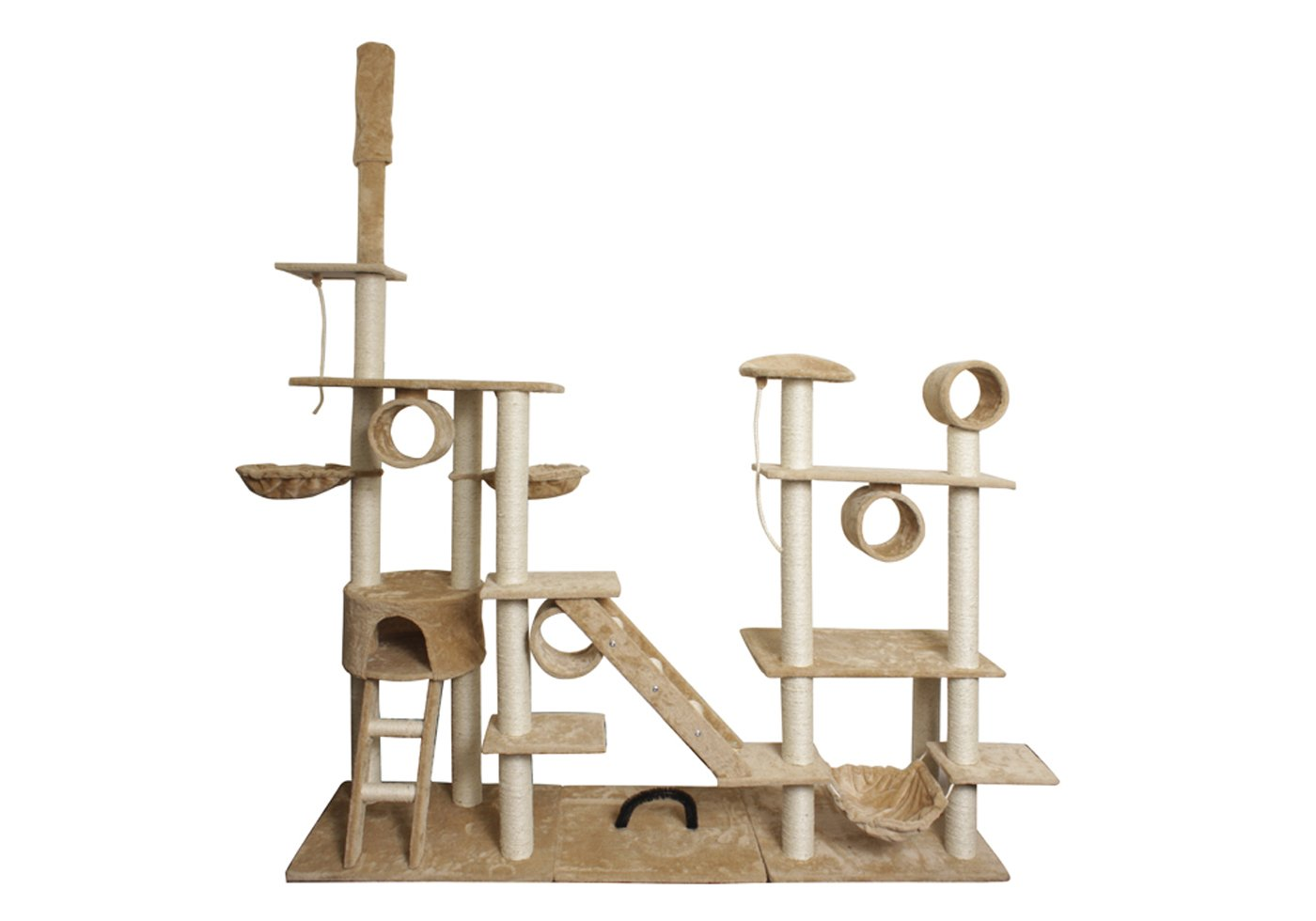 """Paws & Pals 76""""x20""""x96"""" Cat Tree House w/Scartching Post Towers, Hammock Bed, Pet Toy Balls And Ropes, Multi Level Playground, 10 Level Condo w/Tunnels And Stairs - Tan And White"""