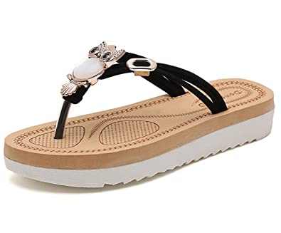 Cheerlife Damen Sandalen Eule Schuhe Sommer Strand Casual Pantoffeln Zehentrenner Flip Flops 35 Schwarz 6FQrxp