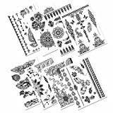 Black Temporary Tattoos, PrettyDate 75+ Mehndi & Boho Designs, Fake Jewelry Tattoos for Body Paint Art- Feathers, Mask, Butterflies, Elephants , Mandalas, Flowers and More(8 Sheets)