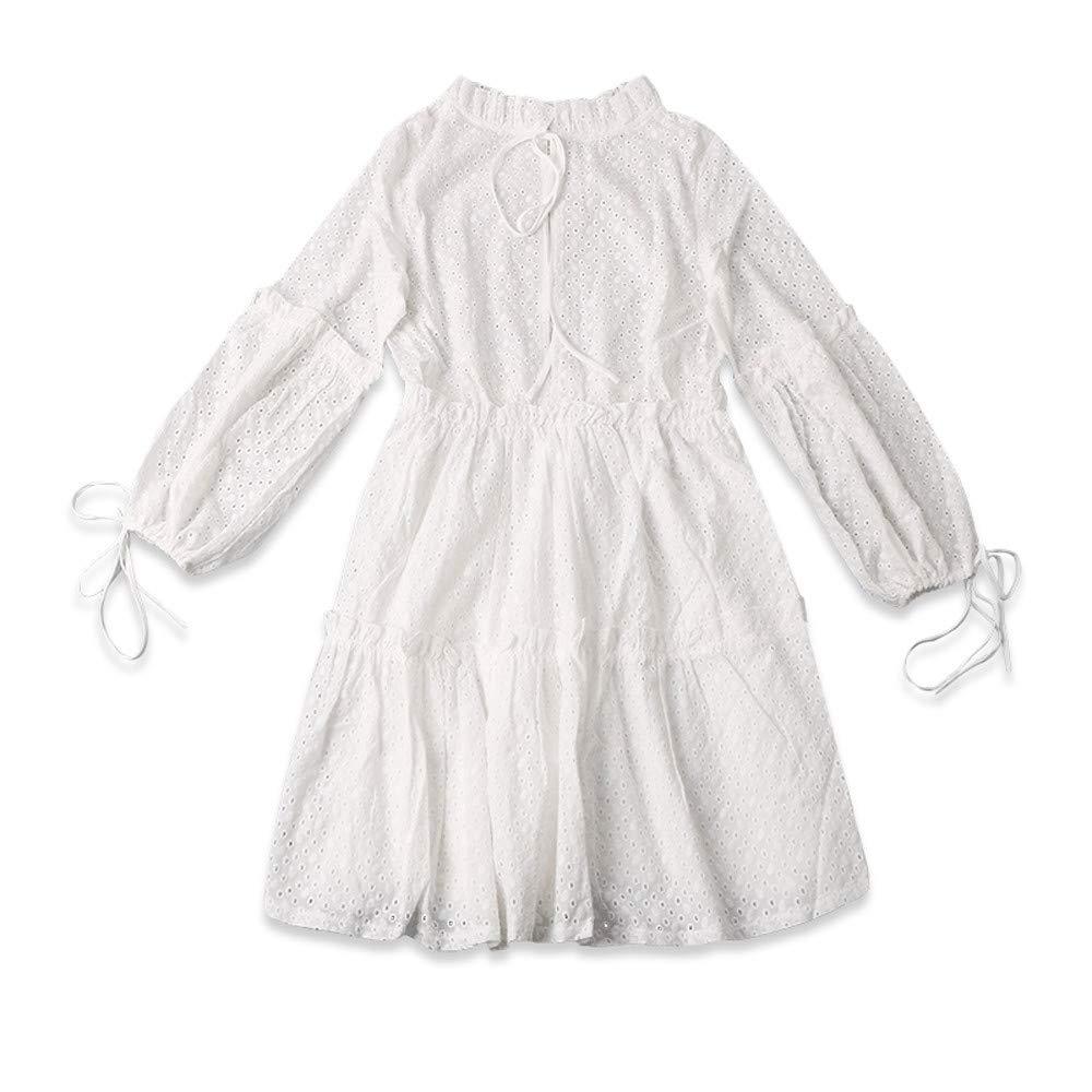 Women Beach Dress Casual Summer Fashion Plus Size Solid Long Lantern Sleeve Ruffled Neck Loose Dress