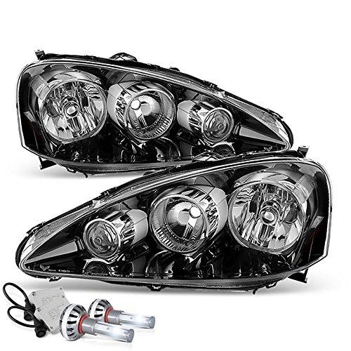 (VIPMOTOZ Black Housing OE-Style Headlight Headlamp Assembly For 2005-2006 Acura RSX - Built-In Diamond White CSP LED Low Beam, Driver & Passenger Side)