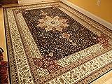 Luxury Navy Persian Silk Rugs Large 8x12 Living Room Rug Dark Blue 8x12 Dining Room Rug Navy Rugs for Living Room 8x10 Navy Floral Carpet (Large 8'x12')