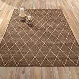 Ottomanson Jardin Collection Contemporary Trellis Design Indoor/Outdoor Jute Backing Area Synthetic Sisal Rug, Brown, 5'3'' x 7'3''