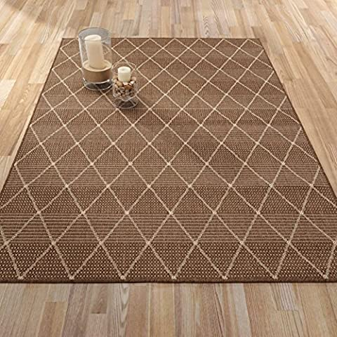 Ottomanson Jardin Collection Contemporary Trellis Design Indoor/Outdoor Jute Backing Area Synthetic Sisal Rug, Brown, 5'3