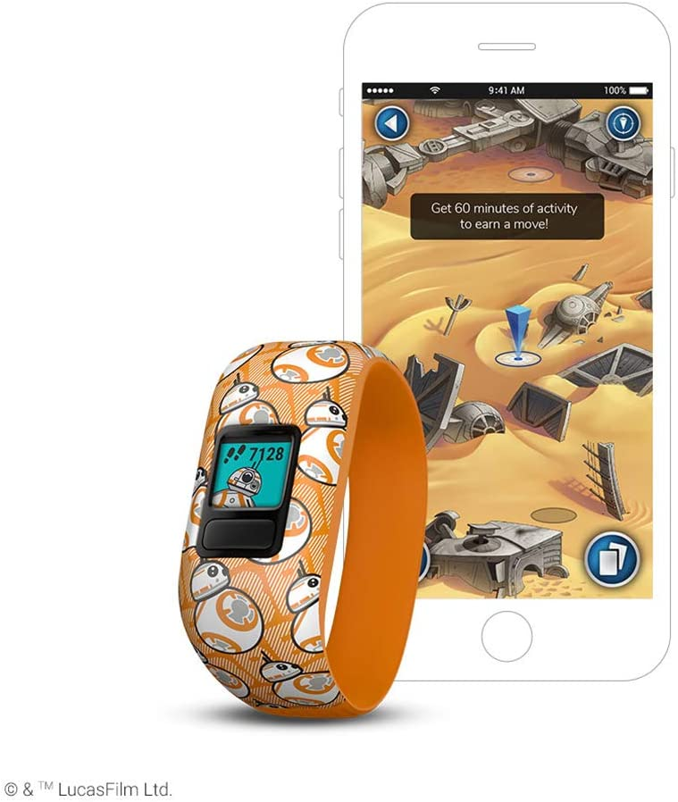 Garmin vivofit jr. 2, Kids Fitness/Activity Tracker, 1-Year Battery Life, Stretchy Band, Star Wars BB-8