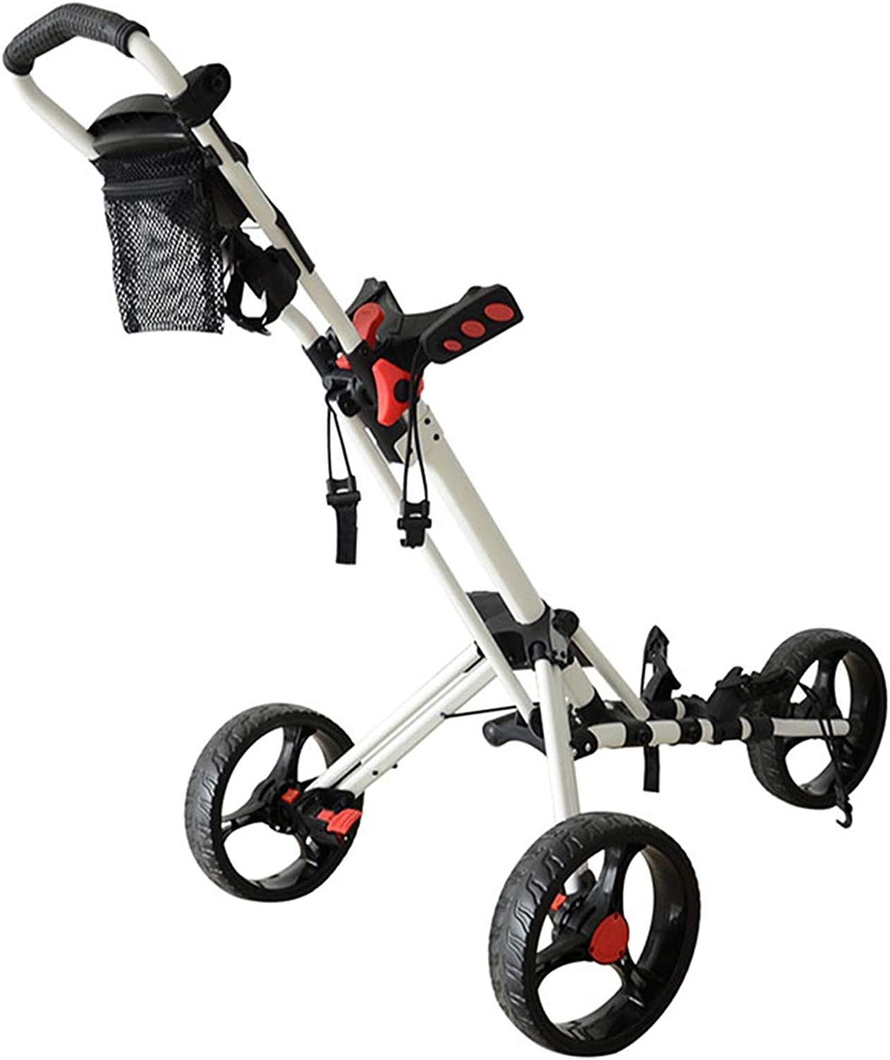 XIONGGG 3 Wheel Golf Push Cart, Folding 360 Swivel with Parasol Stand Beverage Holder and Storage Bags