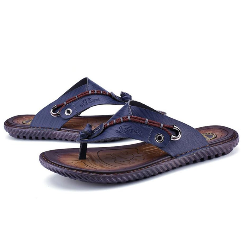 GAOLIXIA Herren Leder Atmungsaktive Sandaleen Sommer Flip Flops Komfortable Rutschfeste Hausschuhe Mode Outdoor Casual Beach Schuhe Große Größe 38-47