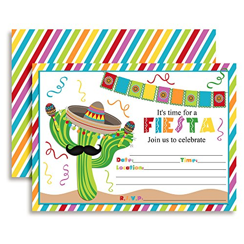 Fiesta Cactus Celebration Fill In Invitations set of 10 (Cinco De Mayo Birthday Invitations)