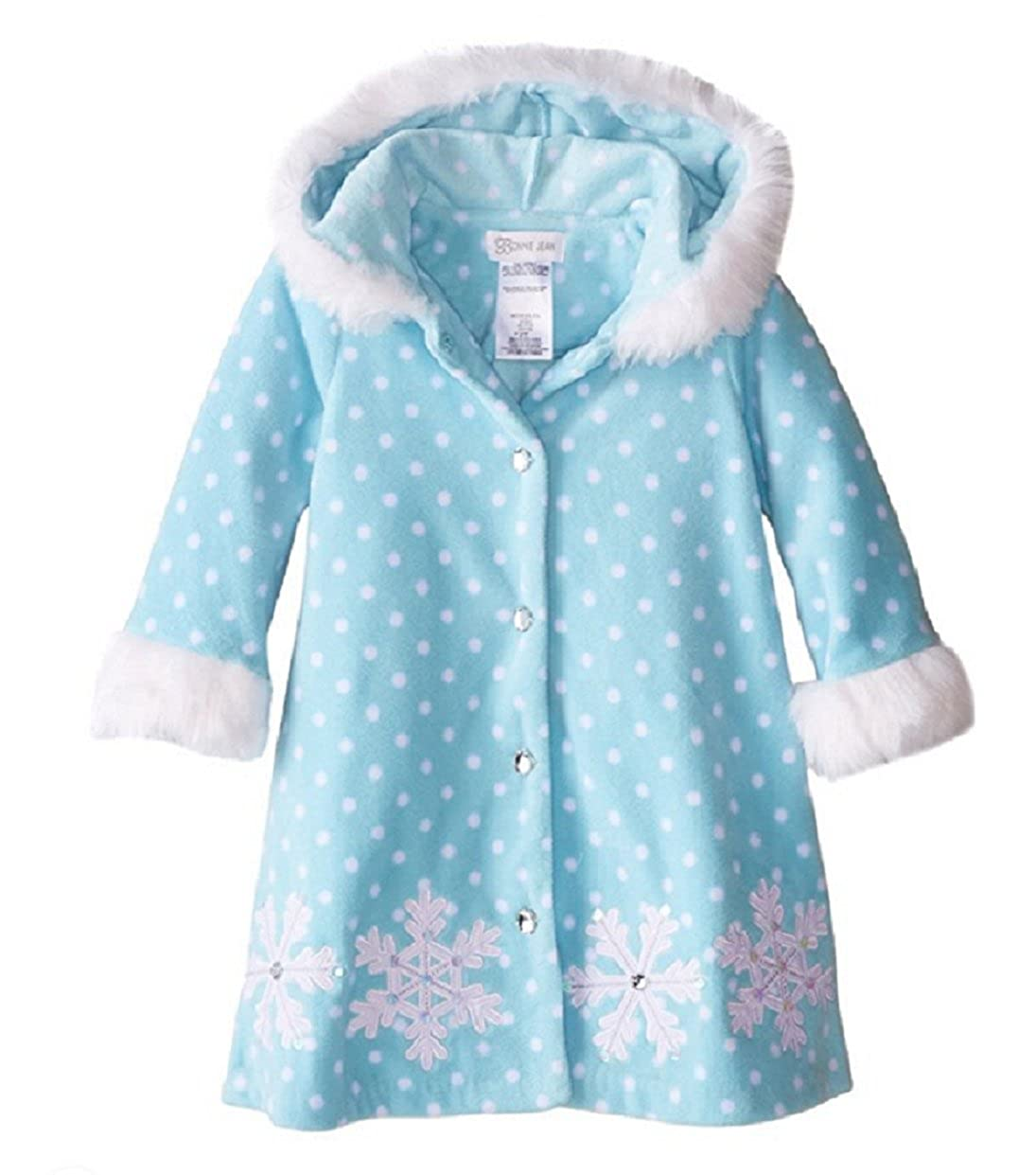 Blue 12M Bonnie Jean Little Girls Fleece Snowflake Faux Fur Hooded Coat