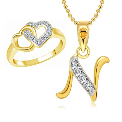 Vighnaharta Hum Tum Heart Ring With Initial Letter N Pendant Gold And Rhodium Plated Jewellery Combo Set