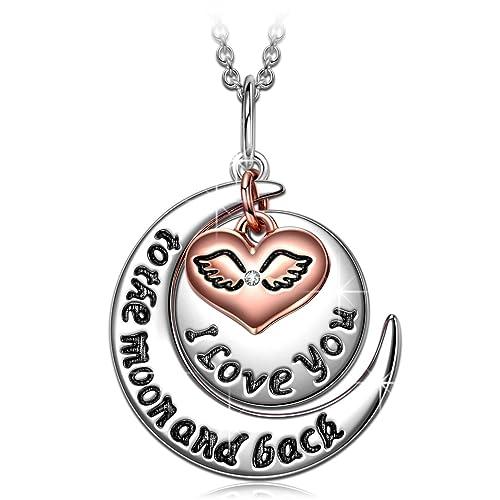 ANGEL NINA Collar Grabado de Plata de ley 925 Colgante Amor Corazon Alas de Oro de
