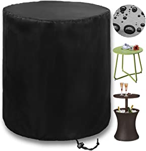 PatiosGuard Outdoor Side Table Cover for Keter Pacific Cool Bar Tables, Waterproof & Heavy Duty Protection for Patio Beer Wine Coffee Cooler Furniture (Round - 20