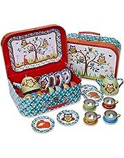 Lucy Locket Woodland Animals Kids Tin Tea Set & Carry Case (14 Piece Tea Set for Kids)