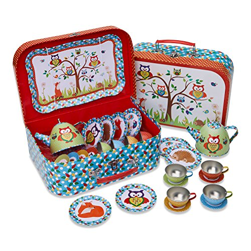 Lucy Locket Woodland Animals Kids Tin Tea Set & Carry Case (14 Piece Tea Set for Kids) (Unbreakable Tea Set)