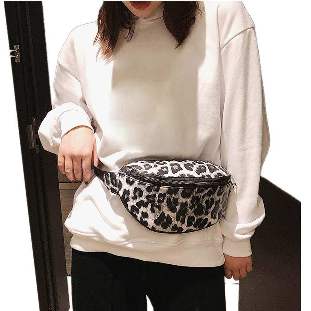 White Best selling Fashion casual outdoor zipper leopard crossbody bag Athli neutral sports chest pocket