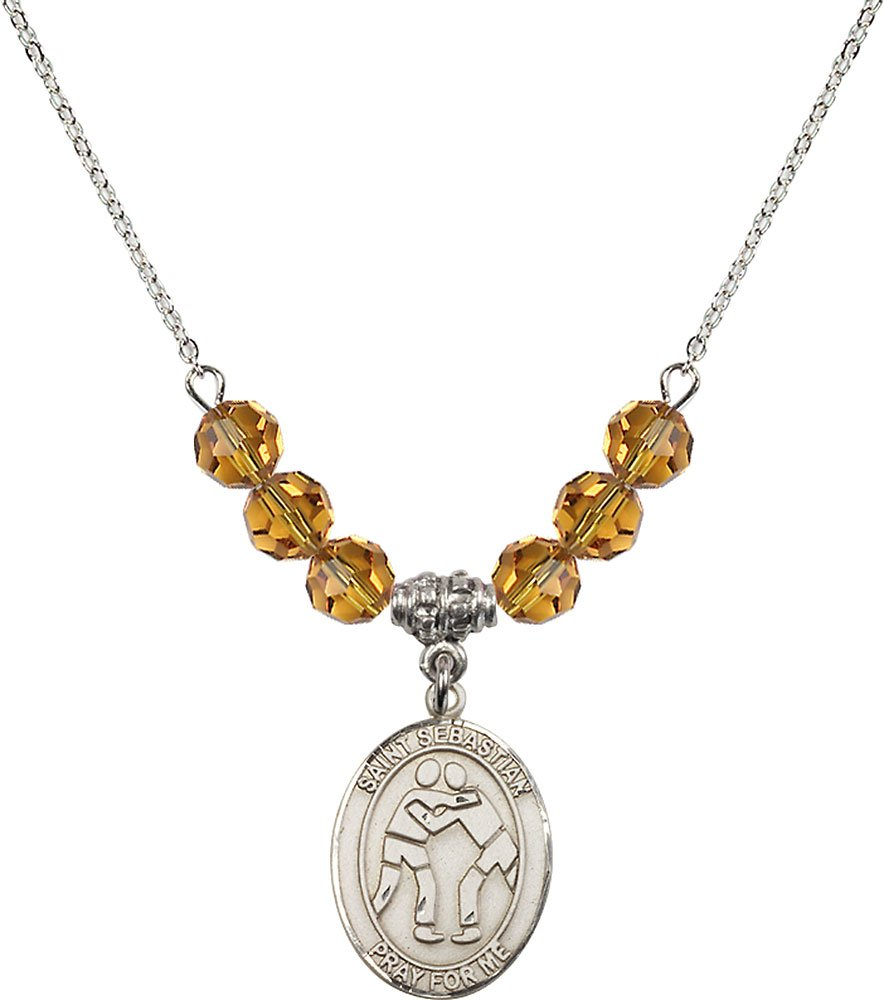Rhodium Plated Necklace with 6mm Topaz Birthstone Beads & Saint Sebastian/Wrestling Charm.