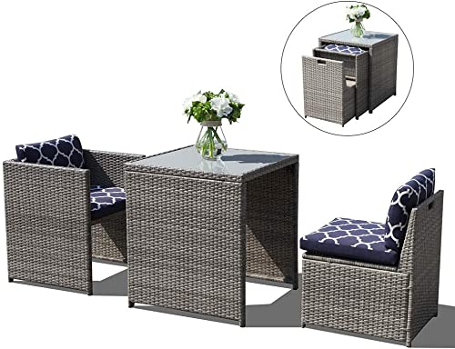 Patiomore 3 Pieces Outdoor Bistro Set Cushioned Furniture Set PE Wicker Patio Chairs with Coffee Table Brown