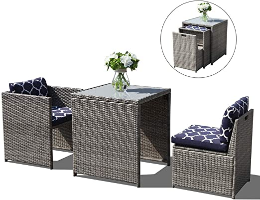 Rattan Bistro Set with Glass Top Table Cushioned 3 PCS Outdoor Wicker Patio Set
