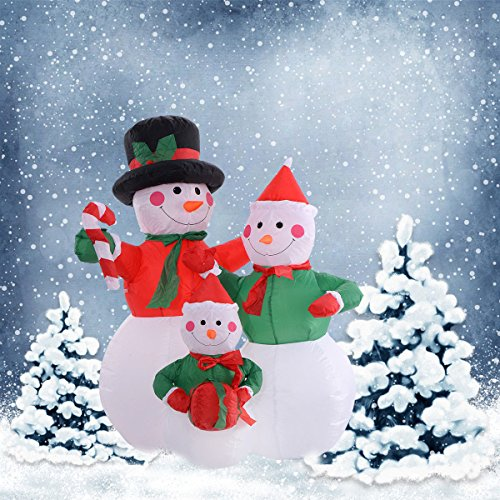 Creative Scene 4Ft Airblown Inflatable Christmas Snowman Family Great Decoration For Your Holiday Season