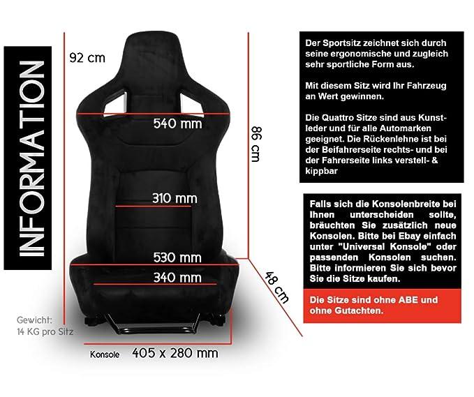 2 asientos deportivos para automóvil, estilo de carreras, de piel sintética de imitación negra: Amazon.es: Coche y moto