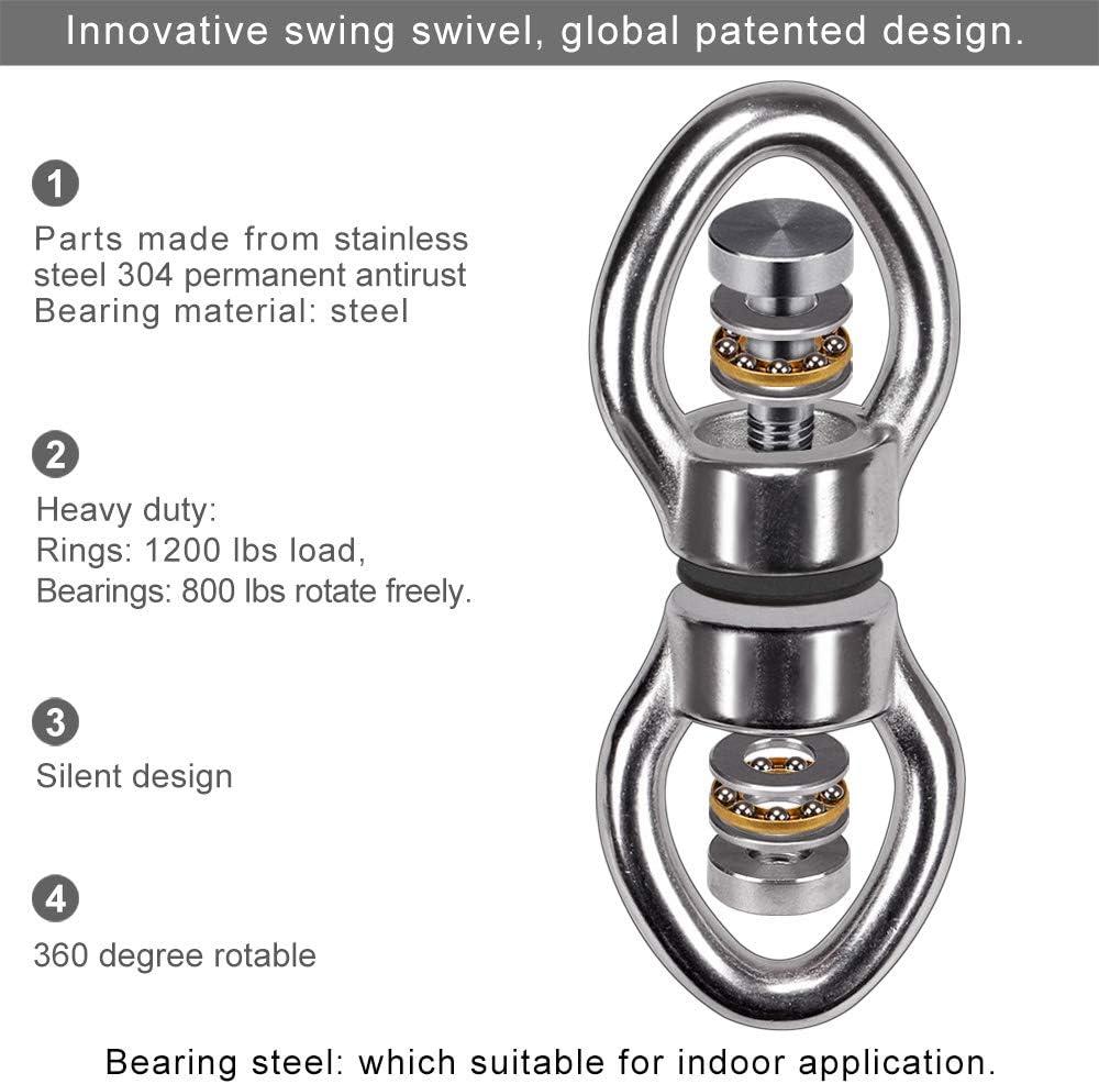 dispositivo di rotazione a 360 /° in acciaio inossidabile 1200LB Accessorio per appendere con 2 fibbie rimovibili per altalena SELEWARE Girevole con cuscinetto silenzioso sedia amaca yoga