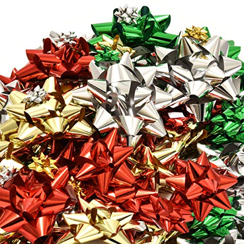 120 Christmas Bows Self Adhesive for Presents Wreaths Wrapping Holiday Gifts Includes Large Medium Small and Mini Sizes in Red Green Silver and Gold 24 of 4