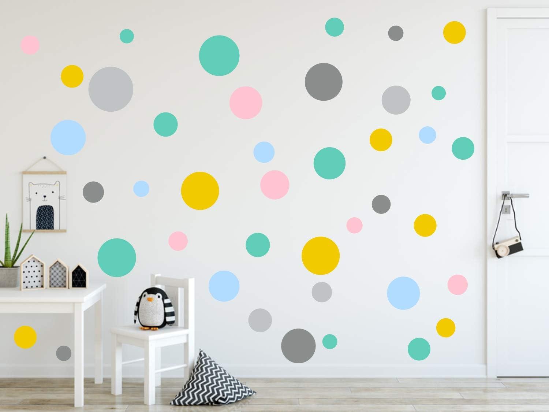 timalo/® 120 St/ück Wandtattoo Kinderzimmer Kreise Pastell Wandsticker Aufkleber Punkte 73078-SET14-120