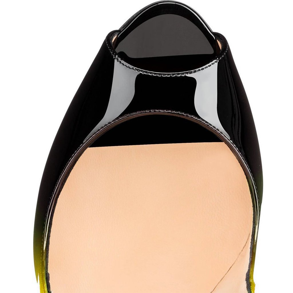 FSJ Women Slide Peep Toe High Heels Pumps Sexy Stilettos Patent Leather Shoes for Party Size 4-15 US B071R856BW 6 B(M) US|Yellow-black