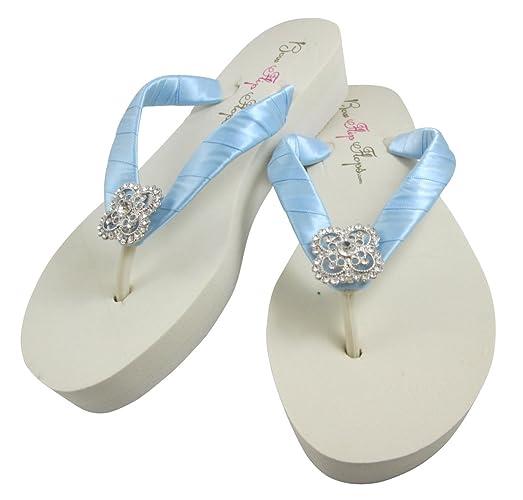 e1a631757 Amazon.com  Square Filigree Rhinestone Wedding Flip Flops