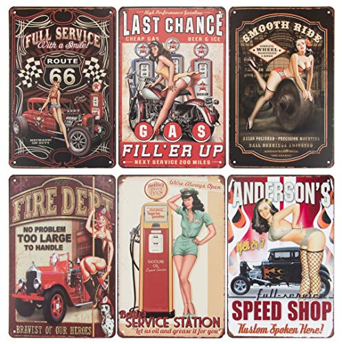 Juvale 6-Piece Tin Signs - Vintage Style Metal Signs As Wall Decor, Decorative Retro Coffee Bar Sign, Pin-up Girls, Sexy Ladies and Wheels, 11.8 x 8 Inches
