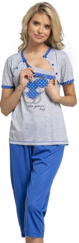 HAPPY MAMA Mujer Pijama Premamá Camiseta Lactancia Pantalones Recortadas. 517p nursingnight_517