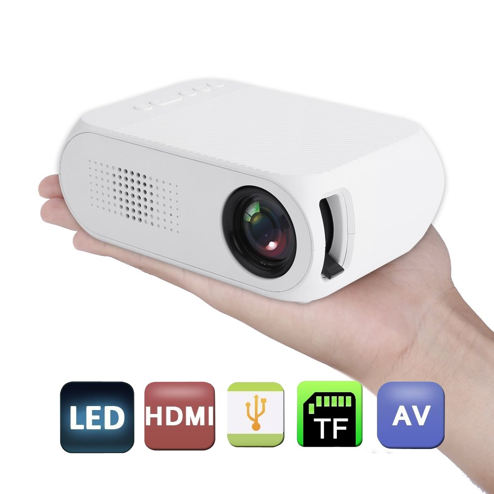 Brothers0808 Mini Projector,Portable HD Projector 600LM 1080P Smart Home Cinema Theather Video Projector,White Brothers0808-301