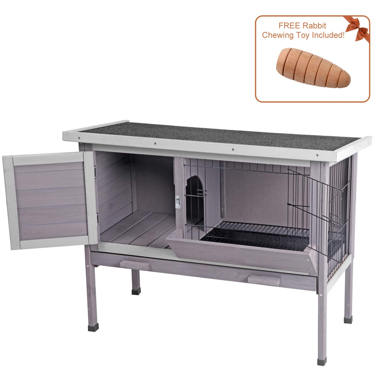 Aivituvin Outdoor Rabbit Hutch, Wooden Bunny Cages Indoor with Deeper Leakproof Tray - Upgrade with Metal Wire Pan (Grey, Rabbit Hutch #001-B) by Aivituvin