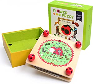 Happytime Kids' Flower & Leaf Press Nature Crafts Wooden Art Kit Outdoor Play Learning Toy Creativity Pressed Flower Art Kit DIY Recycle Floral Press Gift for Kids & Teens, Girls & Boys