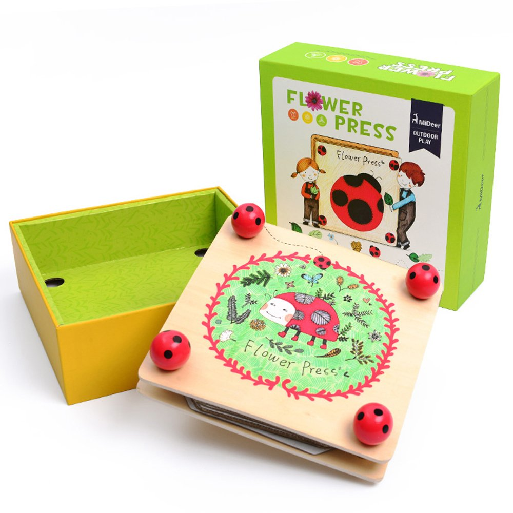 Flower & Leaf Press Nature Crafts - Happytime MD0071 Wooden Art Kit Outdoor Play Learning Toy for 3+ Years Old Kids by Happy Time